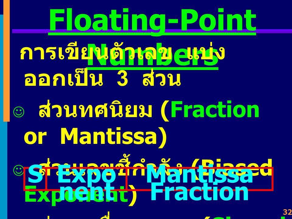 31 Floating-Point Numbers ส่วนตัวเลข 10 23, 10 -27, 10 2, 10 -14 เรียกว่า Scale Factor ซึ่งจะเป็น ตัวกำหนดจุดทศนิยม ลองเขียนใหม่ (Normalized) เป็น 0.60247 X 10 24 0.66254 X 10 -26 -0.10341 X 10 3 -0.73000 X 10 -13 +/- X 1 X 2 X 3 X 4 X 5 X 6 X 7 X 10 +/-Y 1 Y 2