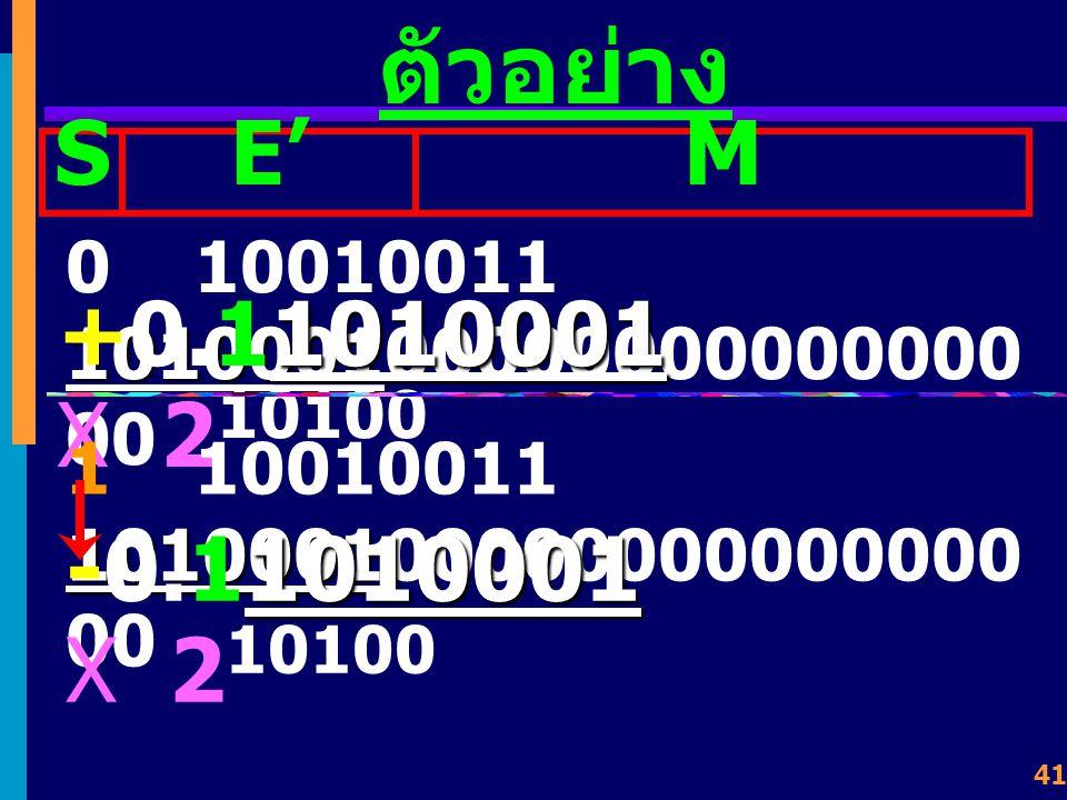 40 ตัวอย่าง 0 10010011 10100010000000000000000 SExpo nent Mantissa Fraction 147 10 + แทนค่าเลขในฐานสิบ มีค่า เท่ากับ 1010001 +0.11010001 X 2 10100 E = E' - 127 E = 147 - 127 = 20 = 10100