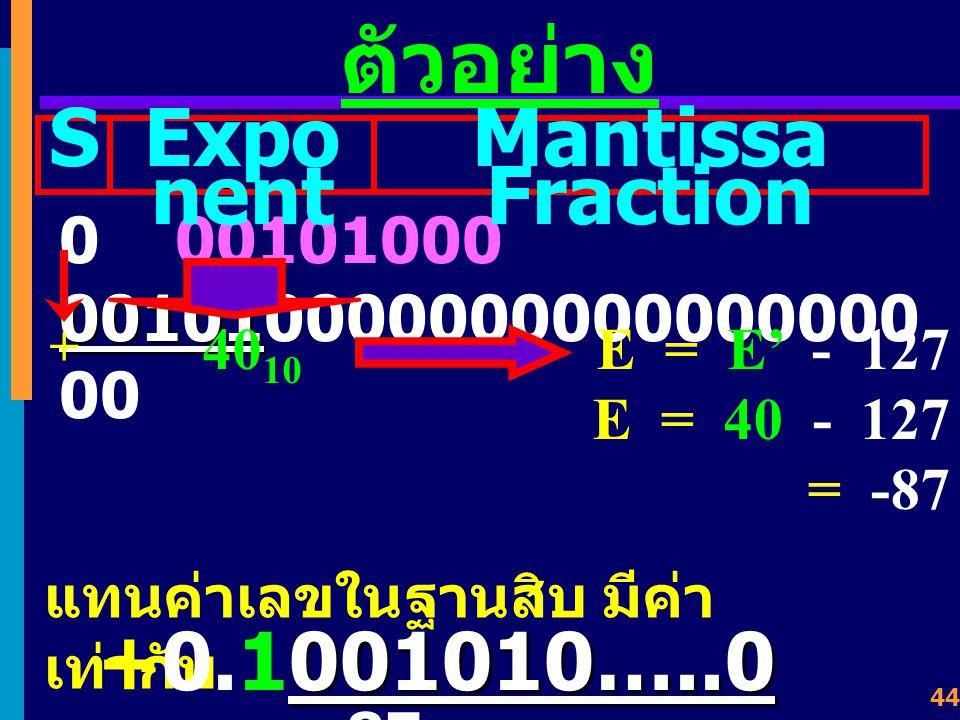 43 ตัวอย่าง 0 01101011 101000100000000000000 00 SExpo nent Mantissa Fraction 107 10 + แทนค่าเลขในฐานสิบ มีค่า เท่ากับ 1010001 +0.11010001 2 X 2 -20 E = E' - 127 E = 107 - 127 = -20