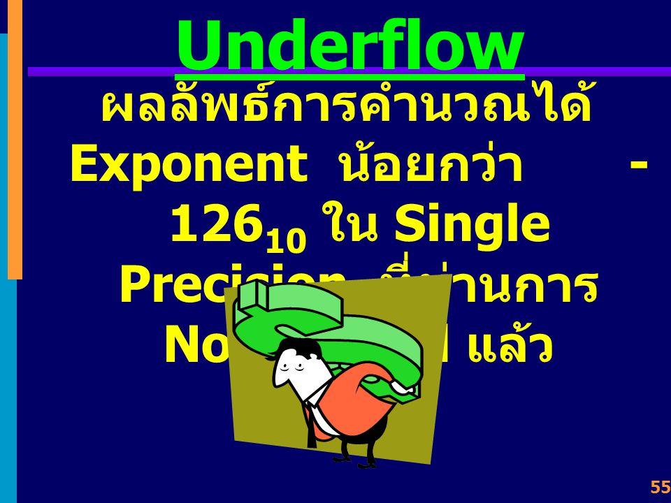 54 Overflow ผลลัพธ์จากการคำนวณมี จำนวนบิตเกินขนาดที่ เครื่องจะแทนค่าได้ เช่น ทำให้ Exponent มากกว่า +127 10 ใน Single Precision ที่ผ่านการ Normalized แล้ว