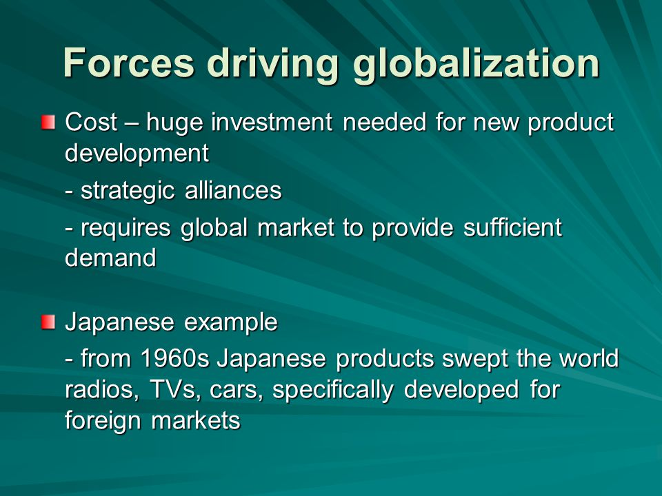 Global marketing Making no distinction between domestic and foreign market opportunities Not developing a product for domestic market and then going offshore Seeks to identify global market opportunities