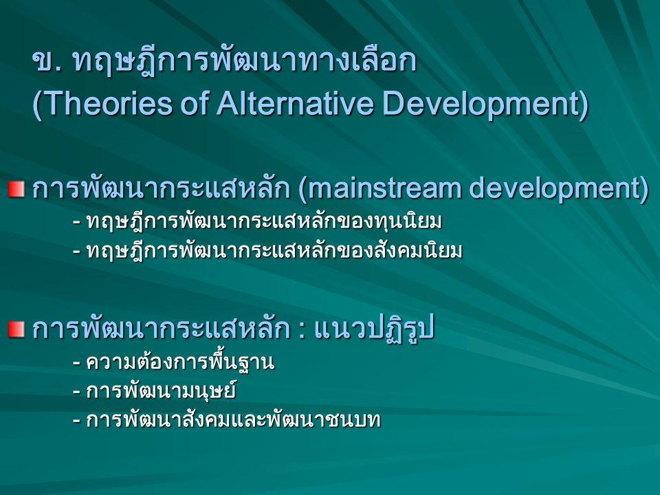 ภาคผนวก เศรษฐศาสตร์ทางเลือกกับทฤษฎี การพัฒนาทางเลือก ก. เศรษฐศาสตร์ทางเลือก (Alternative Economics) (Alternative Economics) - ขอให้ดูเอกสารประกอบ