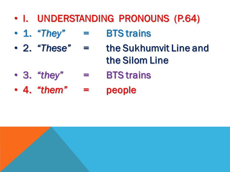 I. UNDERSTANDING PRONOUNS (P.64) I. UNDERSTANDING PRONOUNS (P.64) 1.