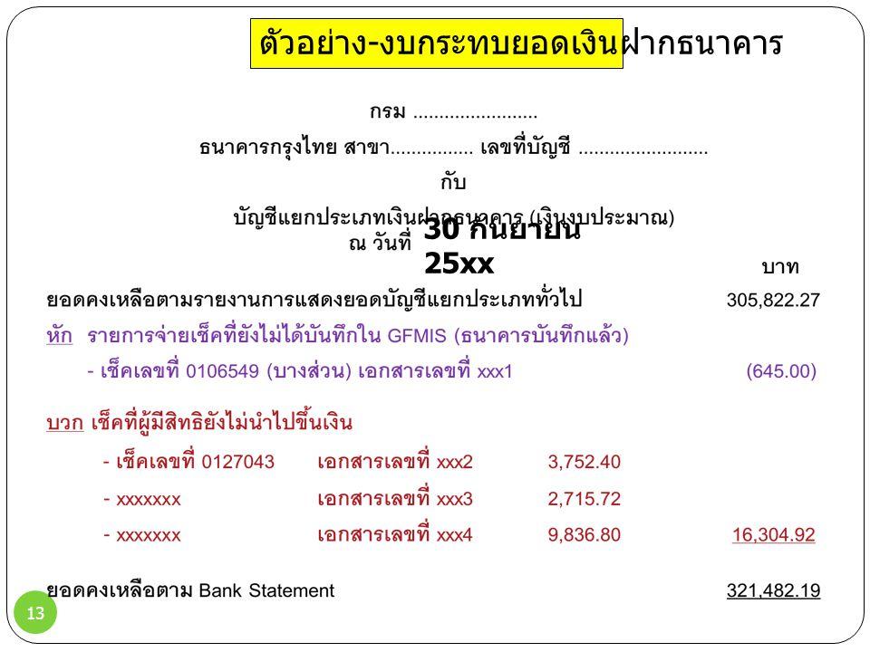 13 ตัวอย่าง - งบกระทบยอดเงินฝากธนาคาร 30 กันยายน 25xx