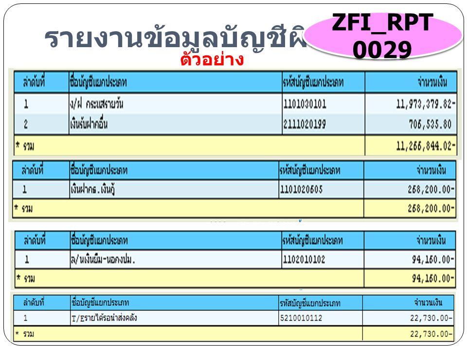 รายงานข้อมูลบัญชีผิดดุล ZFI_RPT 0029 ตัวอย่าง