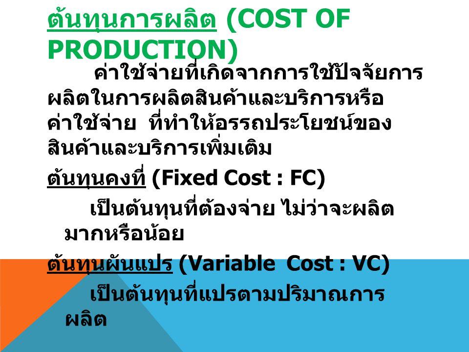ต้นทุนการผลิต (COST OF PRODUCTION) ค่าใช้จ่ายที่เกิดจากการใช้ปัจจัยการ ผลิตในการผลิตสินค้าและบริการหรือ ค่าใช้จ่าย ที่ทำให้อรรถประโยชน์ของ สินค้าและบร
