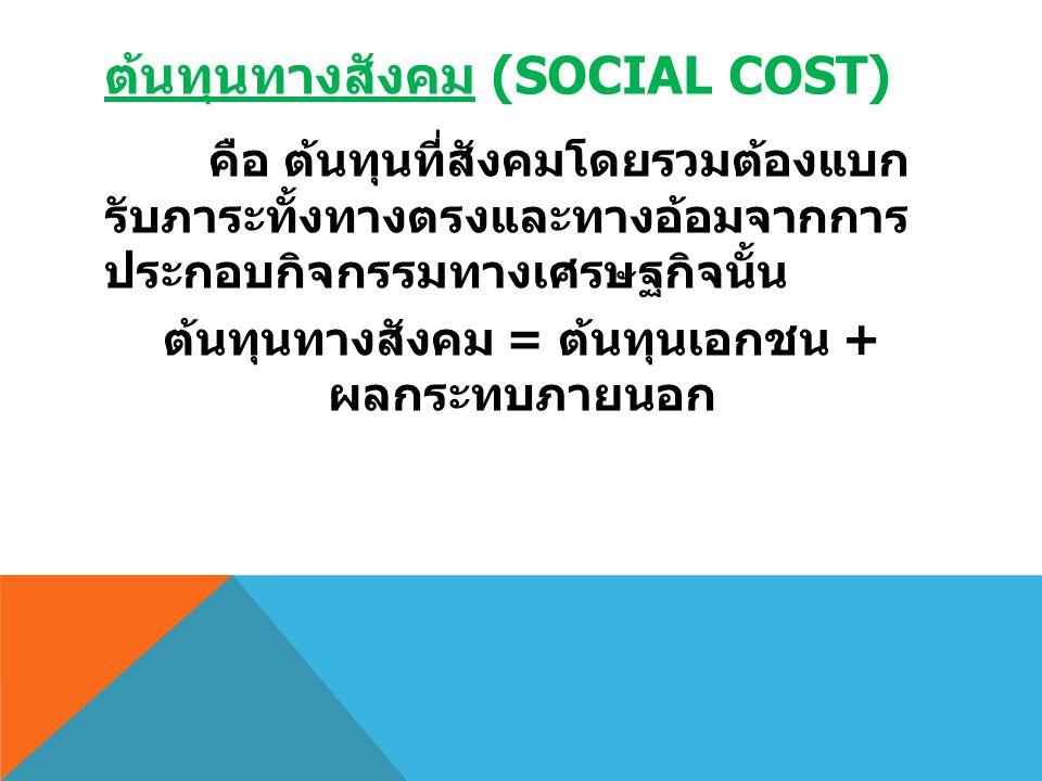 ต้นทุนทางสังคม (SOCIAL COST) คือ ต้นทุนที่สังคมโดยรวมต้องแบก รับภาระทั้งทางตรงและทางอ้อมจากการ ประกอบกิจกรรมทางเศรษฐกิจนั้น ต้นทุนทางสังคม = ต้นทุนเอก