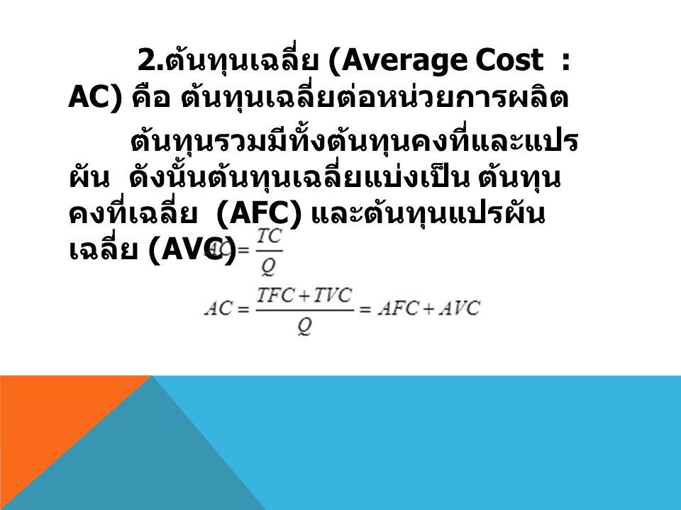2. ต้นทุนเฉลี่ย (Average Cost : AC) คือ ต้นทุนเฉลี่ยต่อหน่วยการผลิต ต้นทุนรวมมีทั้งต้นทุนคงที่และแปร ผัน ดังนั้นต้นทุนเฉลี่ยแบ่งเป็น ต้นทุน คงที่เฉลี่