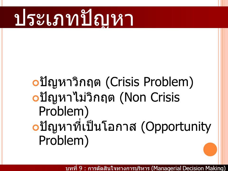 บทที่ 9 : การตัดสินใจทางการบริหาร (Managerial Decision Making) ประเภทปัญหา ปัญหาวิกฤต (Crisis Problem) ปัญหาไม่วิกฤต (Non Crisis Problem) ปัญหาที่เป็น