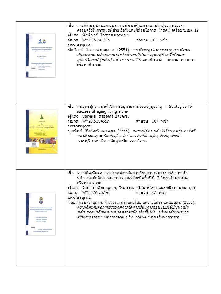 ชื่อ การพัฒนารูปแบบกระบวนการพัฒนาศักยภาพแกนนำสุขภาพประจำ ครอบครัวในการดูแลผู้ป่วยเรื้อรังและผู้ด้อยโอกาส ( กสค.) เครือข่ายเขต 12 ผู้แต่ง ทักษิณาร์ ไกรราช และคณะ หมวด WY20.51 ท 339 ก จำนวน 163 หน้า บรรณานุกรม ทักษิณาร์ ไกรราช และคณะ.
