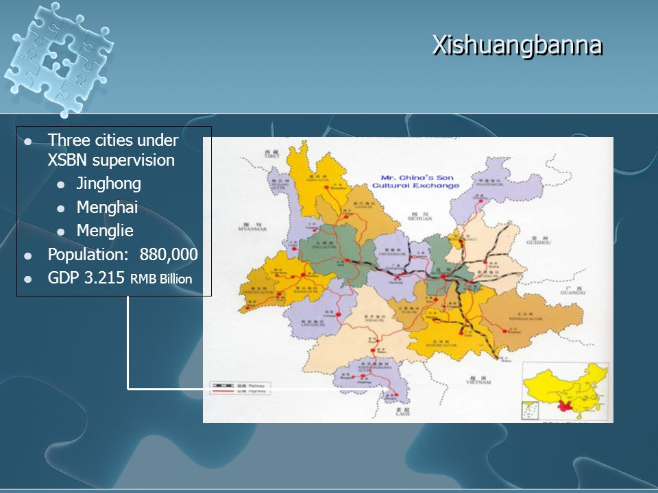 Xishuangbanna Three cities under XSBN supervision Jinghong Menghai Menglie Population: 880,000 GDP 3.215 RMB Billion