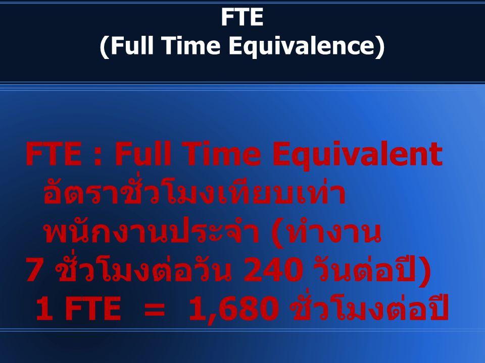 FTE (Full Time Equivalence) FTE : Full Time Equivalent อัตราชั่วโมงเทียบเท่า พนักงานประจำ ( ทำงาน 7 ชั่วโมงต่อวัน 240 วันต่อปี ) 1 FTE = 1,680 ชั่วโมง