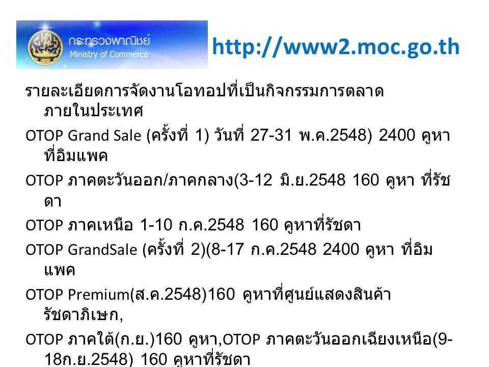 http://www2.moc.go.th รายละเอียดการจัดงานโอทอปที่เป็นกิจกรรมการตลาด ภายในประเทศ OTOP Grand Sale ( ครั้งที่ 1) วันที่ 27-31 พ. ค.2548) 2400 คูหา ที่อิม