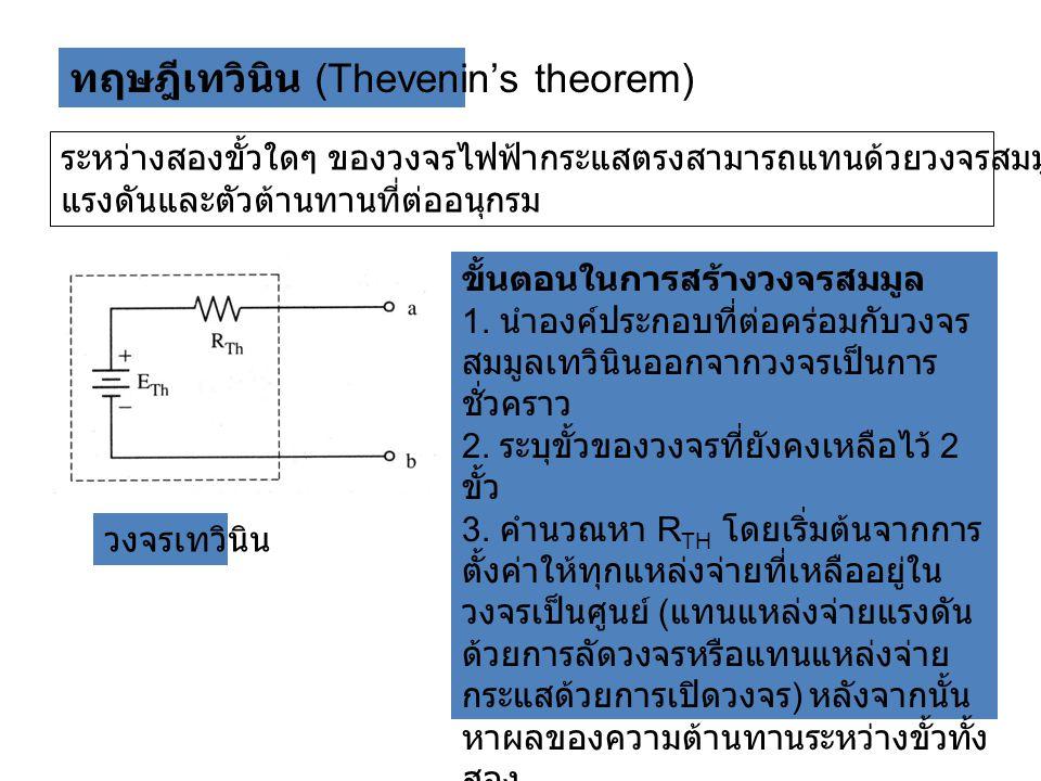 ทฤษฎีเทวินิน (Thevenin's theorem) ระหว่างสองขั้วใดๆ ของวงจรไฟฟ้ากระแสตรงสามารถแทนด้วยวงจรสมมูลที่ประกอบด้วย แหล่งจ่าย แรงดันและตัวต้านทานที่ต่ออนุกรม วงจรเทวินิน ขั้นตอนในการสร้างวงจรสมมูล 1.