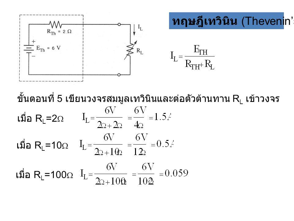 ทฤษฎีเทวินิน (Thevenin's theorem) ขั้นตอนที่ 5 เขียนวงจรสมมูลเทวินินและต่อตัวต้านทาน R L เข้าวงจร เมื่อ R L =2  เมื่อ R L =10  เมื่อ R L =100 