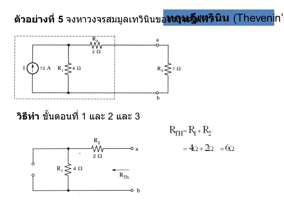 ทฤษฎีเทวินิน (Thevenin's theorem) ตัวอย่างที่ 5 จงหาวงจรสมมูลเทวินินของวงจรไฟฟ้า วิธีทำ ขั้นตอนที่ 1 และ 2 และ 3