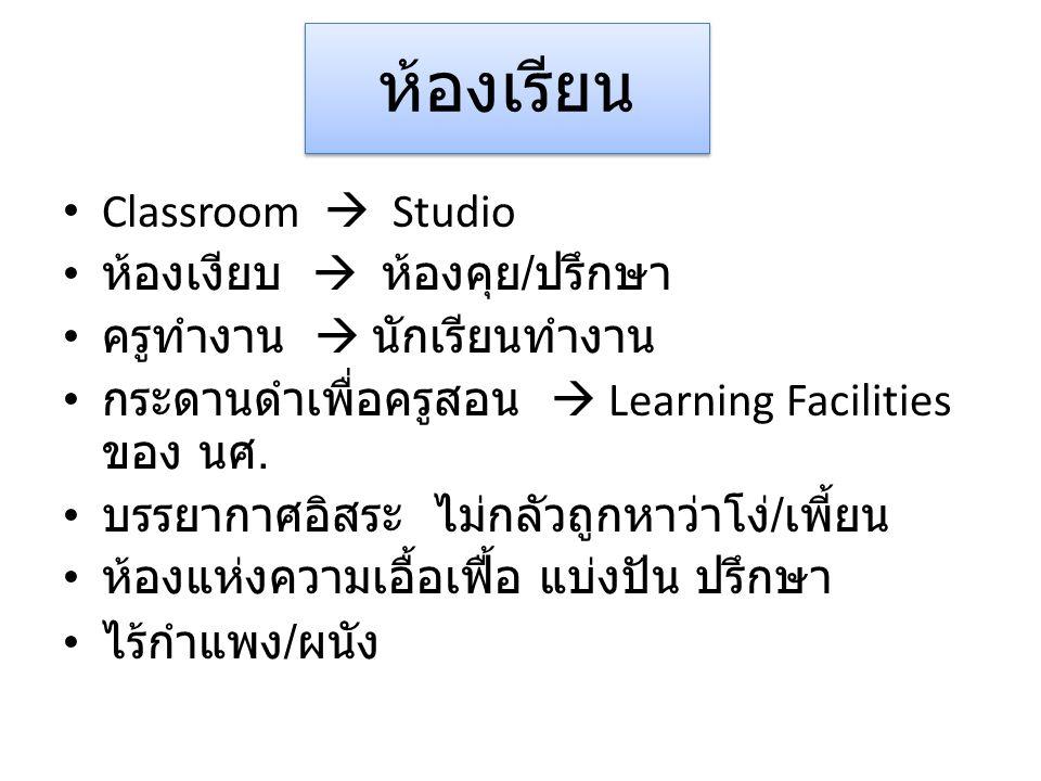 ห้องเรียน Classroom  Studio ห้องเงียบ  ห้องคุย / ปรึกษา ครูทำงาน  นักเรียนทำงาน กระดานดำเพื่อครูสอน  Learning Facilities ของ นศ.
