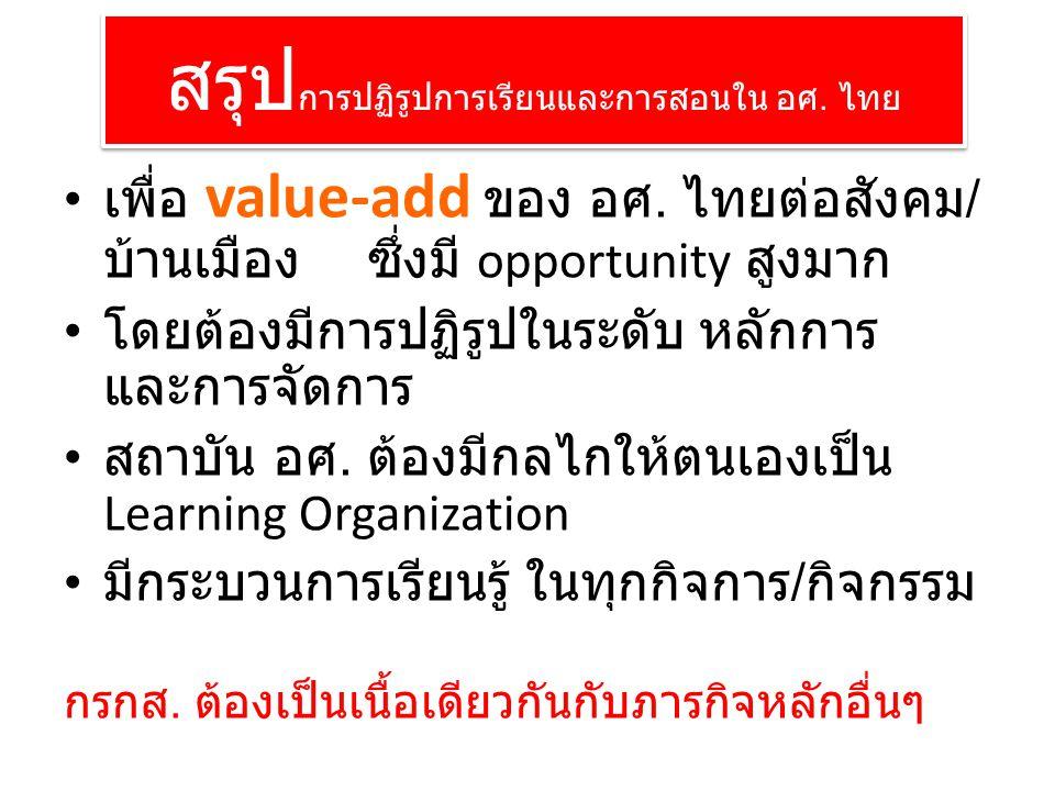 สรุป การปฏิรูปการเรียนและการสอนใน อศ. ไทย เพื่อ value-add ของ อศ.