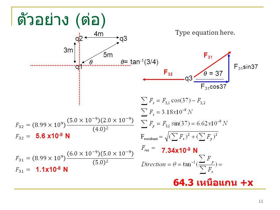 ตัวอย่าง ( ต่อ ) q1 q2q3 3m 4m 5m q3 F 32 F 31   = 37  = tan -1 (3/4) 5.6 x10 -9 N 1.1x10 -8 N F 31 cos37 F 31 sin37 7.34x10 -9 N 64.3 เหนือแกน +x