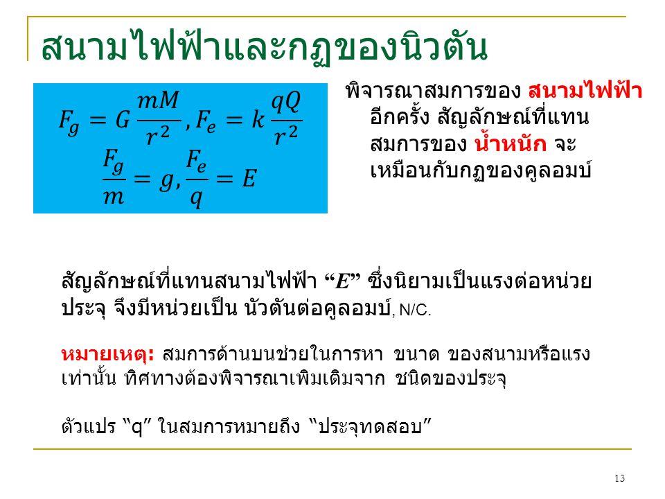 """สนามไฟฟ้าและกฏของนิวตัน พิจารณาสมการของ สนามไฟฟ้า อีกครั้ง สัญลักษณ์ที่แทน สมการของ น้ำหนัก จะ เหมือนกับกฏของคูลอมบ์ สัญลักษณ์ที่แทนสนามไฟฟ้า """"E"""" ซึ่ง"""