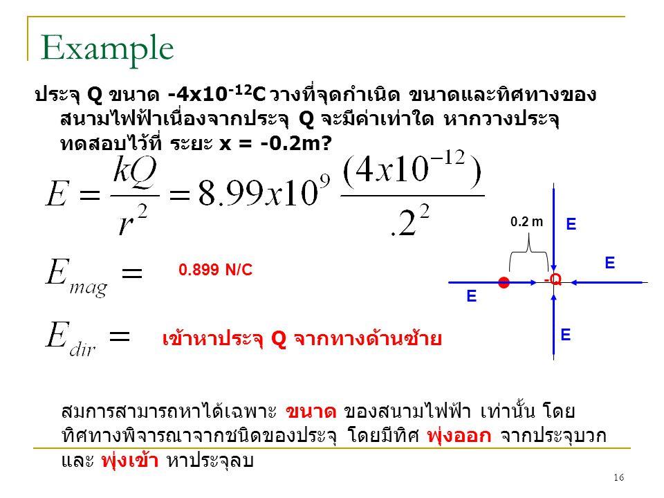 Example ประจุ Q ขนาด -4x10 -12 C วางที่จุดกำเนิด ขนาดและทิศทางของ สนามไฟฟ้าเนื่องจากประจุ Q จะมีค่าเท่าใด หากวางประจุ ทดสอบไว้ที่ ระยะ x = -0.2m? 0.89