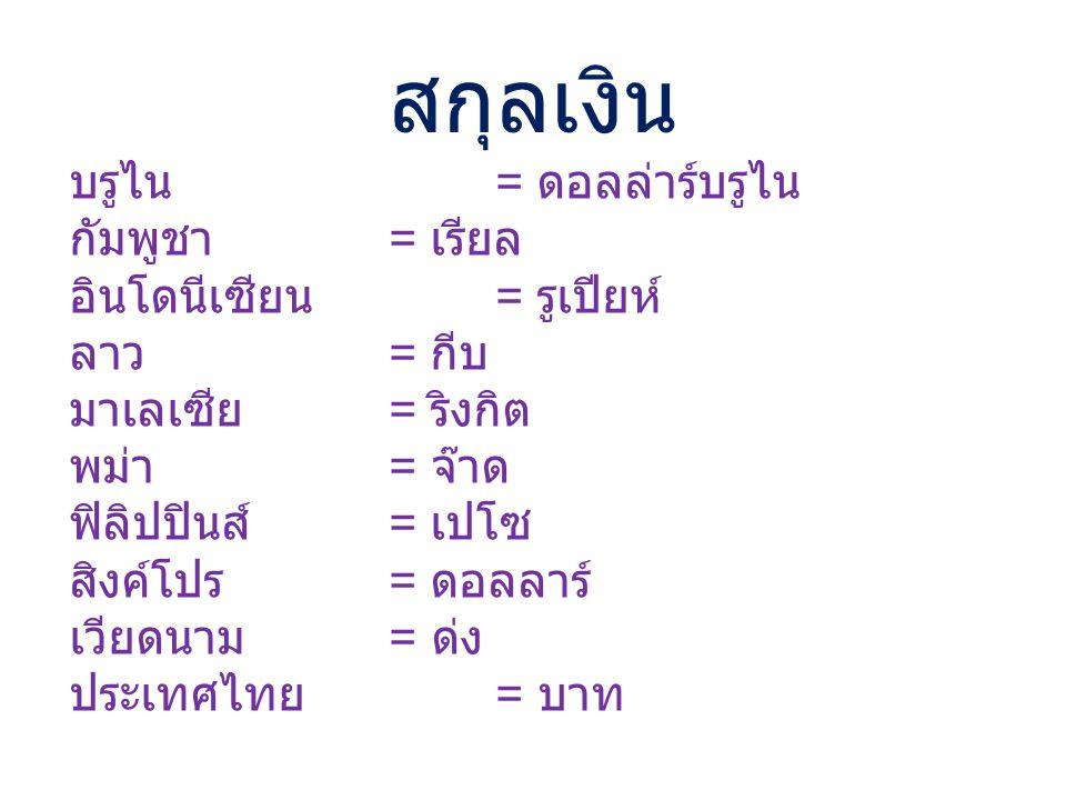 สกุลเงิน บรูไน = ดอลล่าร์บรูไน กัมพูชา = เรียล อินโดนีเซียน = รูเปียห์ ลาว = กีบ มาเลเซีย = ริงกิต พม่า = จ๊าด ฟิลิปปินส์ = เปโซ สิงค์โปร = ดอลลาร์ เว