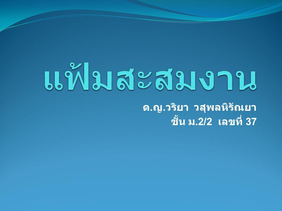 ชื่อ - สกุล ด.ญ. วริยา วสุ พลหิรัณยา  วัน เดือน ปีเกิด 7 มิถุนายน 2543  ที่อยู่ 2 หมู่ 7 ถ.