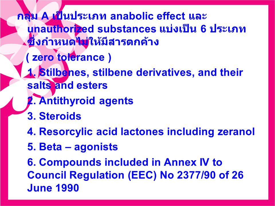 กลุ่ม A เป็นประเภท anabolic effect และ unauthorized substances แบ่งเป็น 6 ประเภท ซึ่งกำหนดไม่ให้มีสารตกค้าง ( zero tolerance ) 1. Stilbenes, stilbene