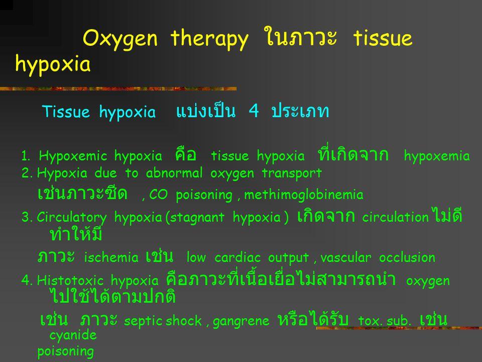 Oxygen therapy ในภาวะ tissue hypoxia Tissue hypoxia แบ่งเป็น 4 ประเภท 1. Hypoxemic hypoxia คือ tissue hypoxia ที่เกิดจาก hypoxemia 2. Hypoxia due to a