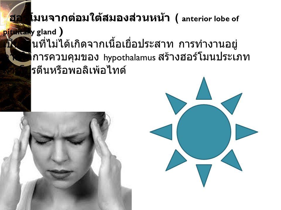 ฮอร์โมนจากต่อมใต้สมองส่วนหน้า ( anterior lobe of pituitary gland ) เป็นส่วนที่ไม่ได้เกิดจากเนื้อเยื่อประสาท การทำงานอยู่ ภายใต้การควบคุมของ hypothalamus สร้างฮอร์โมนประเภท สารโปรตีนหรือพอลิเพ้อไทด์