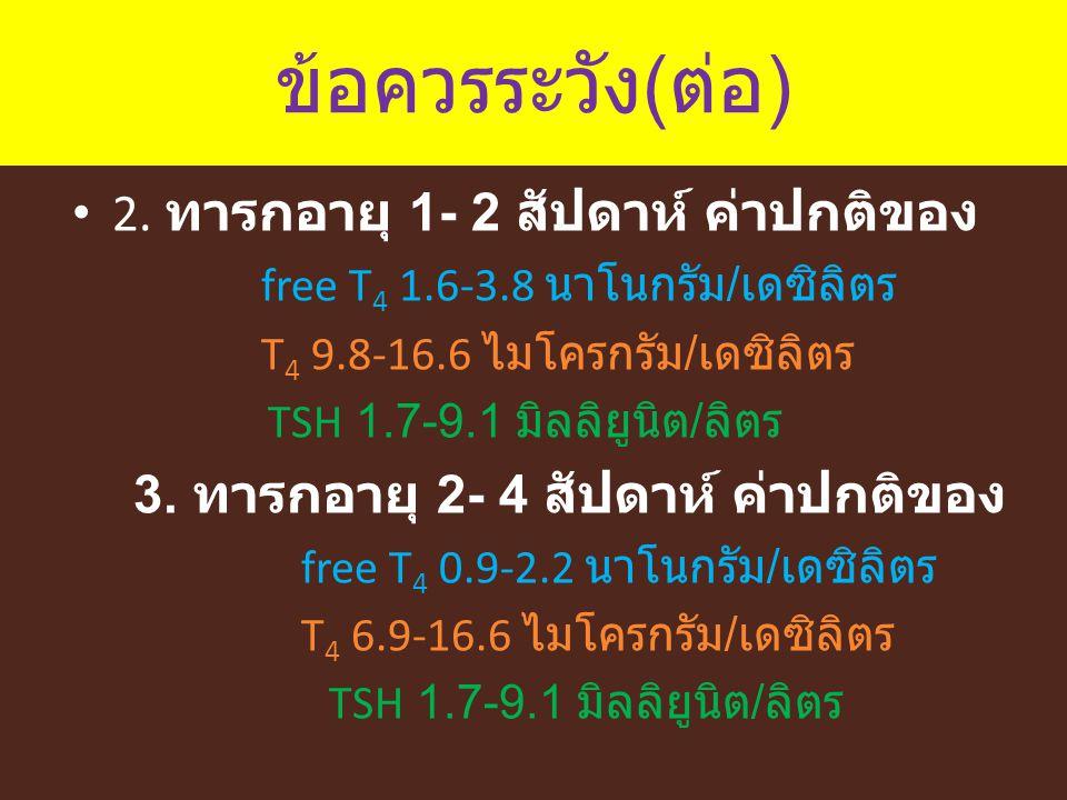 ข้อควรระวัง ( ต่อ ) 2. ทารกอายุ 1- 2 สัปดาห์ ค่าปกติของ free T 4 1.6-3.8 นาโนกรัม / เดซิลิตร T 4 9.8-16.6 ไมโครกรัม / เดซิลิตร TSH 1.7-9.1 มิลลิยูนิต