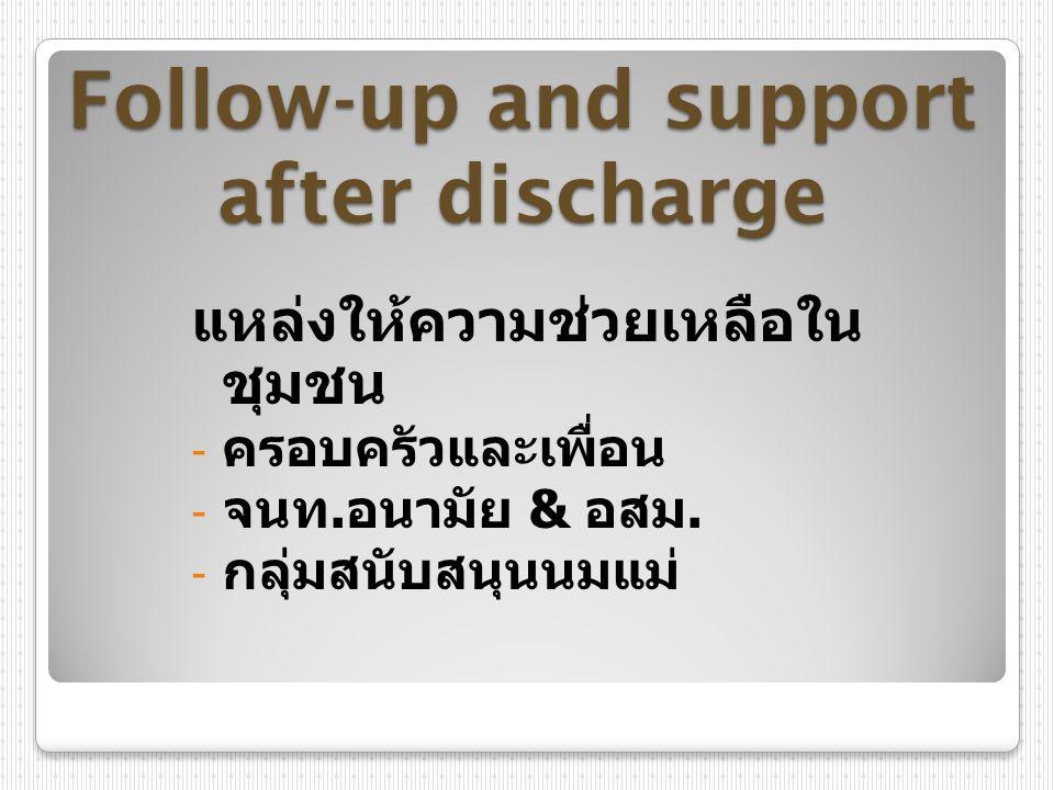 Follow-up and support after discharge แหล่งให้ความช่วยเหลือใน ชุมชน - ครอบครัวและเพื่อน - จนท. อนามัย & อสม. - กลุ่มสนับสนุนนมแม่