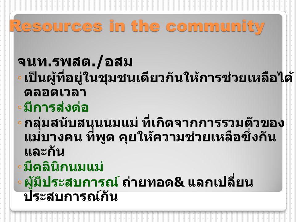 Resources in the community จนท. รพสต./ อสม ◦ เป็นผู้ที่อยู่ในชุมชนเดียวกันให้การช่วยเหลือได้ ตลอดเวลา ◦ มีการส่งต่อ ◦ กลุ่มสนับสนุนนมแม่ ที่เกิดจากการ