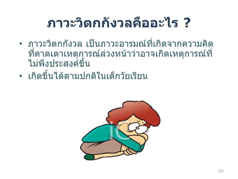 ภาวะวิตกกังวล เป็นภาวะอารมณ์ที่เกิดจากความคิด ที่คาดเดาเหตุการณ์ล่วงหน้าว่าอาจเกิดเหตุการณ์ที่ ไม่พึงประสงค์ขึ้น เกิดขึ้นได้ตามปกติในเด็กวัยเรียน ภาวะวิตกกังวลคืออะไร .