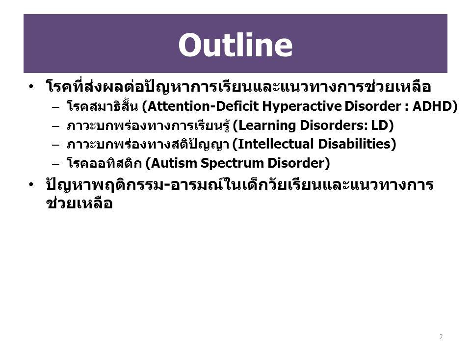 โรคที่ส่งผลต่อปัญหาการเรียนและแนวทางการช่วยเหลือ – โรคสมาธิสั้น (Attention-Deficit Hyperactive Disorder : ADHD) – ภาวะบกพร่องทางการเรียนรู้ (Learning Disorders: LD) – ภาวะบกพร่องทางสติปัญญา (Intellectual Disabilities) – โรคออทิสติก (Autism Spectrum Disorder) ปัญหาพฤติกรรม-อารมณ์ในเด็กวัยเรียนและแนวทางการ ช่วยเหลือ Outline 2