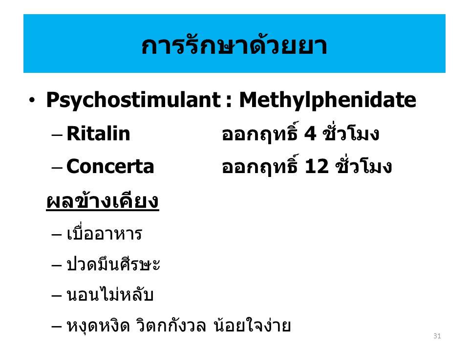 การรักษาด้วยยา Psychostimulant : Methylphenidate – Ritalin ออกฤทธิ์ 4 ชั่วโมง – Concerta ออกฤทธิ์ 12 ชั่วโมง ผลข้างเคียง – เบื่ออาหาร – ปวดมึนศีรษะ – นอนไม่หลับ – หงุดหงิด วิตกกังวล น้อยใจง่าย 31