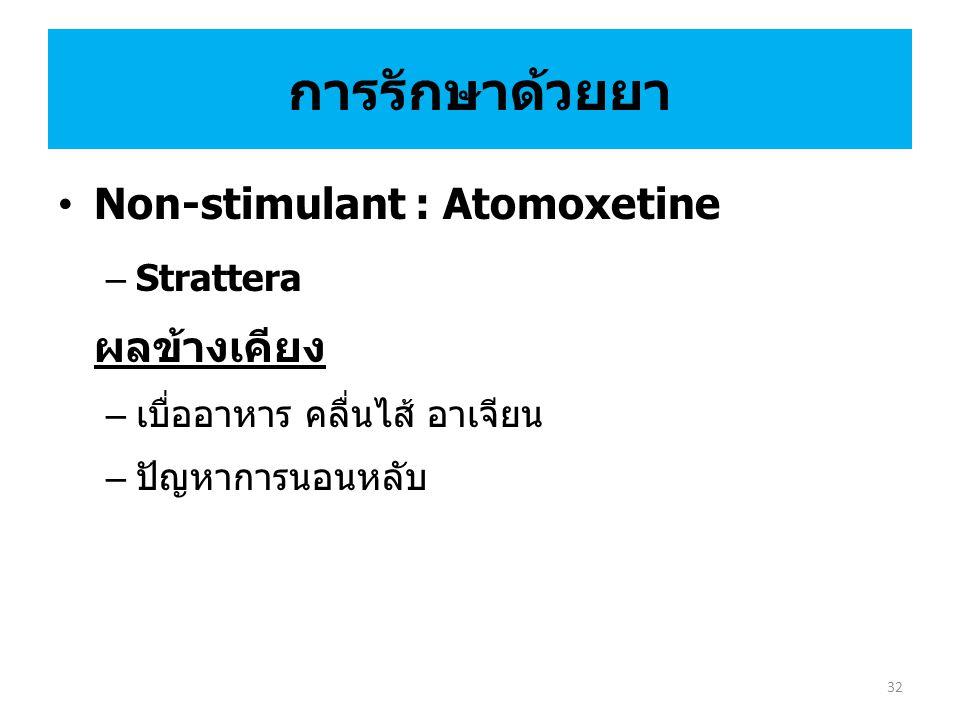 Non-stimulant : Atomoxetine – Strattera ผลข้างเคียง – เบื่ออาหาร คลื่นไส้ อาเจียน – ปัญหาการนอนหลับ การรักษาด้วยยา 32