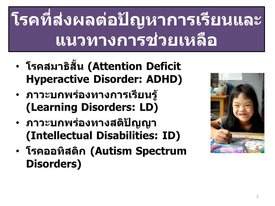 โรคสมาธิสั้น (Attention Deficit Hyperactive Disorder: ADHD) ภาวะบกพร่องทางการเรียนรู้ (Learning Disorders: LD) ภาวะบกพร่องทางสติปัญญา (Intellectual Disabilities: ID) โรคออทิสติก (Autism Spectrum Disorders) 5