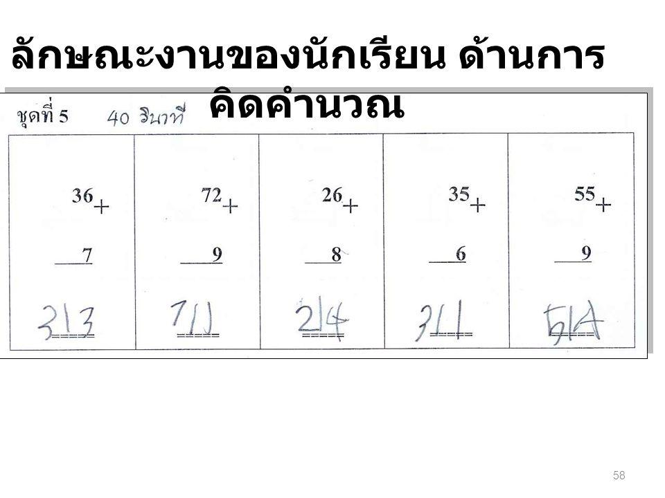 58 ลักษณะงานของนักเรียน ด้านการ คิดคำนวณ