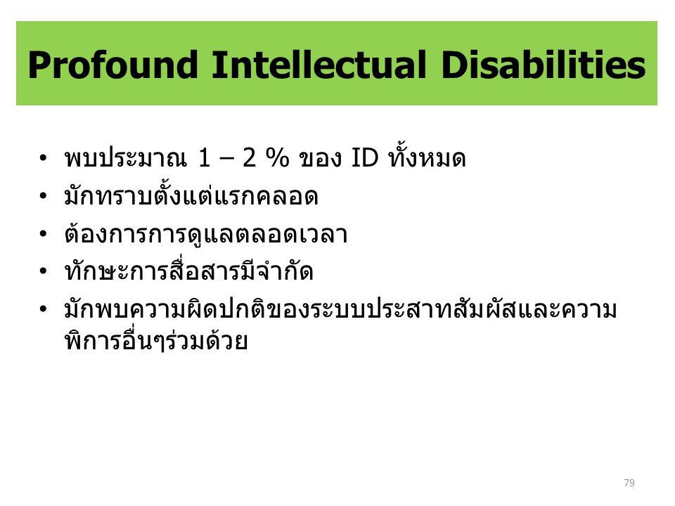 Profound Intellectual Disabilities พบประมาณ 1 – 2 % ของ ID ทั้งหมด มักทราบตั้งแต่แรกคลอด ต้องการการดูแลตลอดเวลา ทักษะการสื่อสารมีจำกัด มักพบความผิดปกติของระบบประสาทสัมผัสและความ พิการอื่นๆร่วมด้วย 79