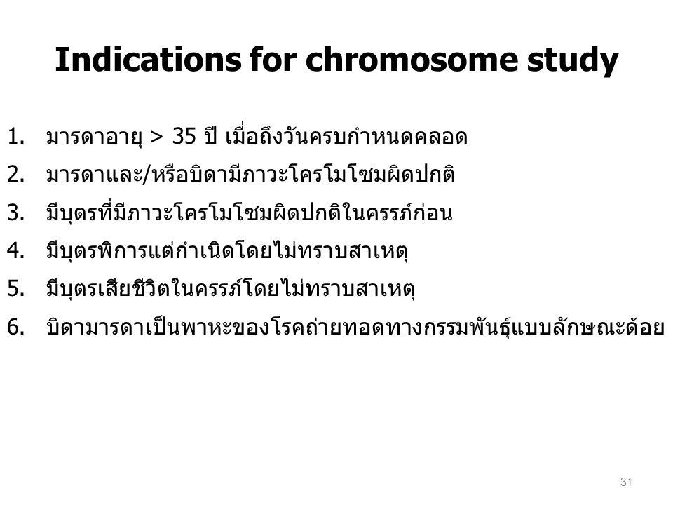 Indications for chromosome study 1.มารดาอายุ > 35 ปี เมื่อถึงวันครบกำหนดคลอด 2. มารดาและ/หรือบิดามีภาวะโครโมโซมผิดปกติ 3. มีบุตรที่มีภาวะโครโมโซมผิดปก