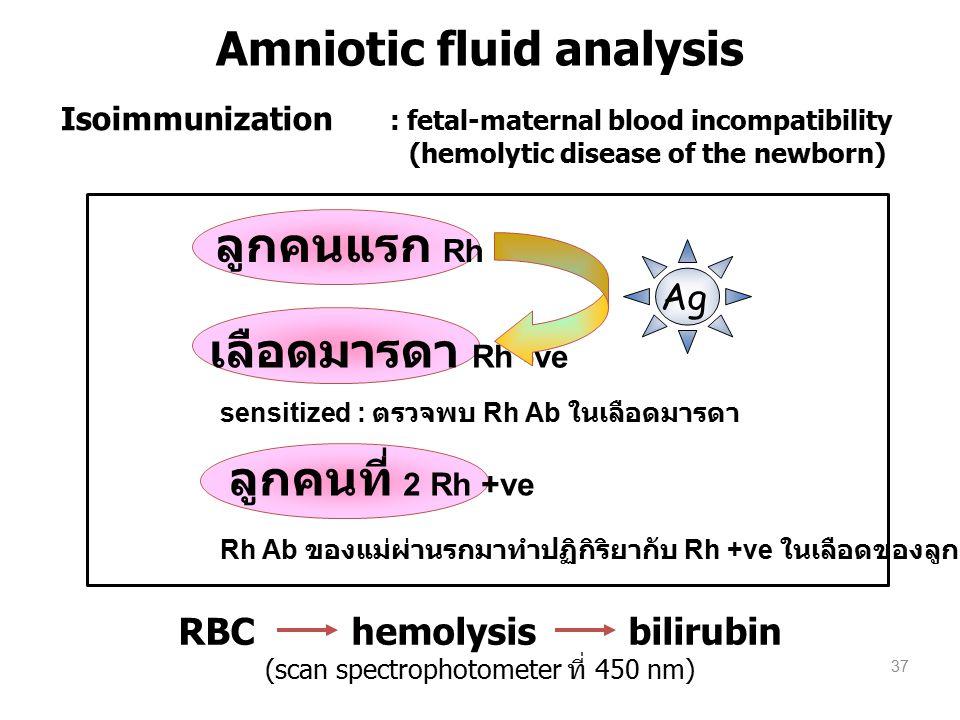 ลูกคนแรก Rh +ve เลือดมารดา Rh -ve ลูกคนที่ 2 Rh +ve Ag sensitized : ตรวจพบ Rh Ab ในเลือดมารดา Rh Ab ของแม่ผ่านรกมาทำปฏิกิริยากับ Rh +ve ในเลือดของลูก RBC hemolysis bilirubin (scan spectrophotometer ที่ 450 nm) Isoimmunization : fetal-maternal blood incompatibility (hemolytic disease of the newborn) 37 Amniotic fluid analysis
