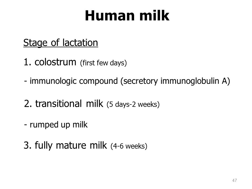 47 Human milk Stage of lactation 1.
