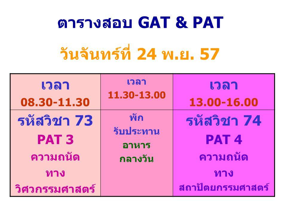 ตารางสอบ GAT & PAT วันจันทร์ที่ 24 พ.ย. 57 เวลา 08.30-11.30 เวลา 11.30-13.00 เวลา 13.00-16.00 รหัสวิชา 73 PAT 3 ความถนัด ทาง วิศวกรรมศาสตร์ พัก รับประ