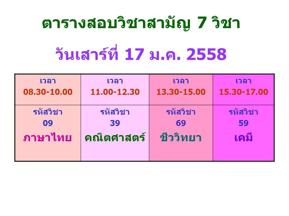 ตารางสอบวิชาสามัญ 7 วิชา วันเสาร์ที่ 17 ม.ค. 2558 เวลา 08.30-10.00 เวลา 11.00-12.30 เวลา 13.30-15.00 เวลา 15.30-17.00 รหัสวิชา 09 ภาษาไทย รหัสวิชา 39