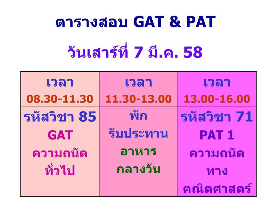 ตารางสอบ GAT & PAT วันเสาร์ที่ 7 มี.ค. 58 เวลา 08.30-11.30 เวลา 11.30-13.00 เวลา 13.00-16.00 รหัสวิชา 85 GAT ความถนัด ทั่วไป พัก รับประทาน อาหาร กลางว