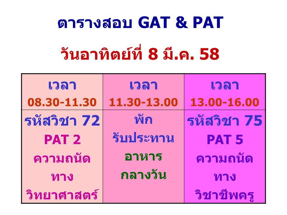ตารางสอบ GAT & PAT วันอาทิตย์ที่ 8 มี.ค. 58 เวลา 08.30-11.30 เวลา 11.30-13.00 เวลา 13.00-16.00 รหัสวิชา 72 PAT 2 ความถนัด ทาง วิทยาศาสตร์ พัก รับประทา