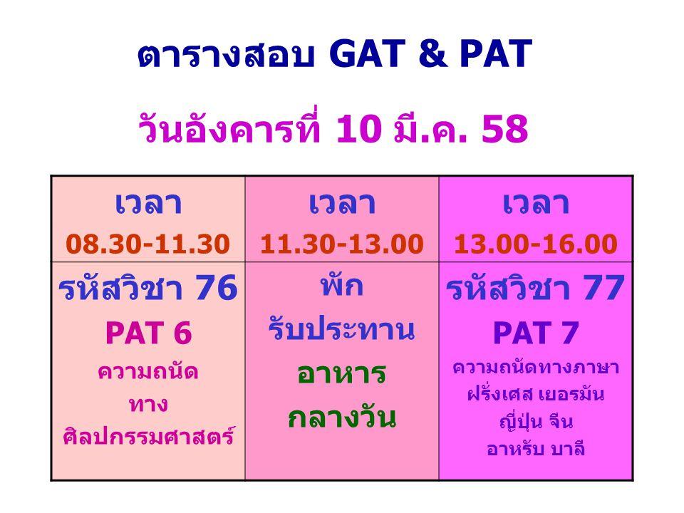 ตารางสอบ GAT & PAT วันอังคารที่ 10 มี.ค. 58 เวลา 08.30-11.30 เวลา 11.30-13.00 เวลา 13.00-16.00 รหัสวิชา 76 PAT 6 ความถนัด ทาง ศิลปกรรมศาสตร์ พัก รับปร