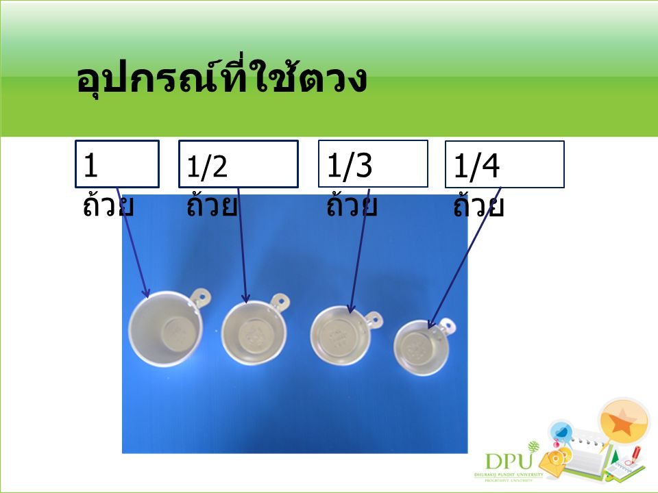 วิธีการใช้ถ้วยตวงของแห้ง ตักของใส่ถ้วยตวงตามขนาดที่ต้องการให้พูน การใช้มีดปาดปาดให้เรียบเสมอขอบถ้วย