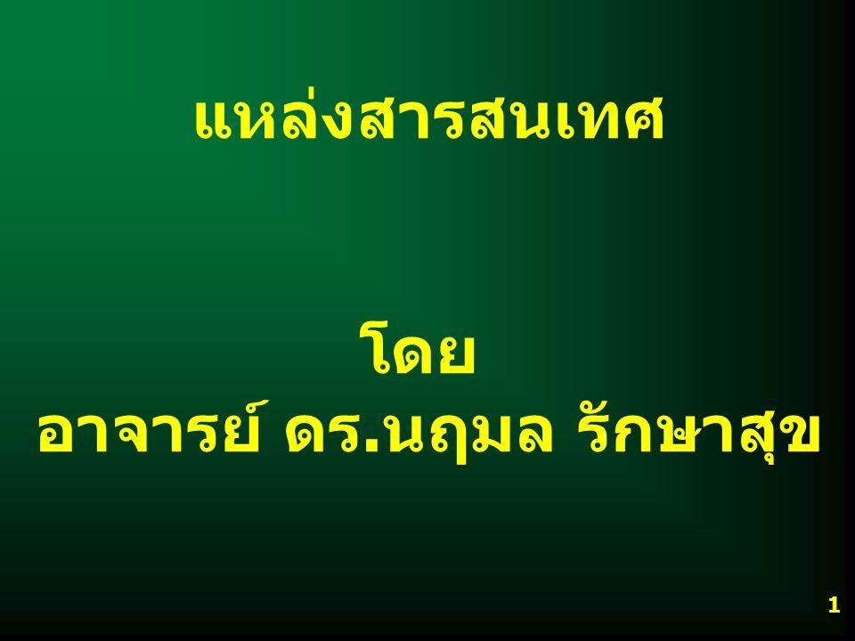IS204318 แหล่งสารสนเทศ C อ.ดร. นฤมล รักษาสุข 2 หน่วยที่ 2 2.